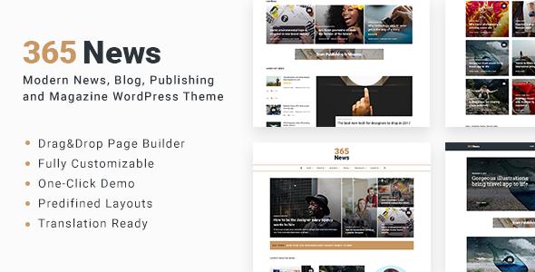 Wordpress Blog Template 365 News - News Blog Publishing Magazine WordPress Theme