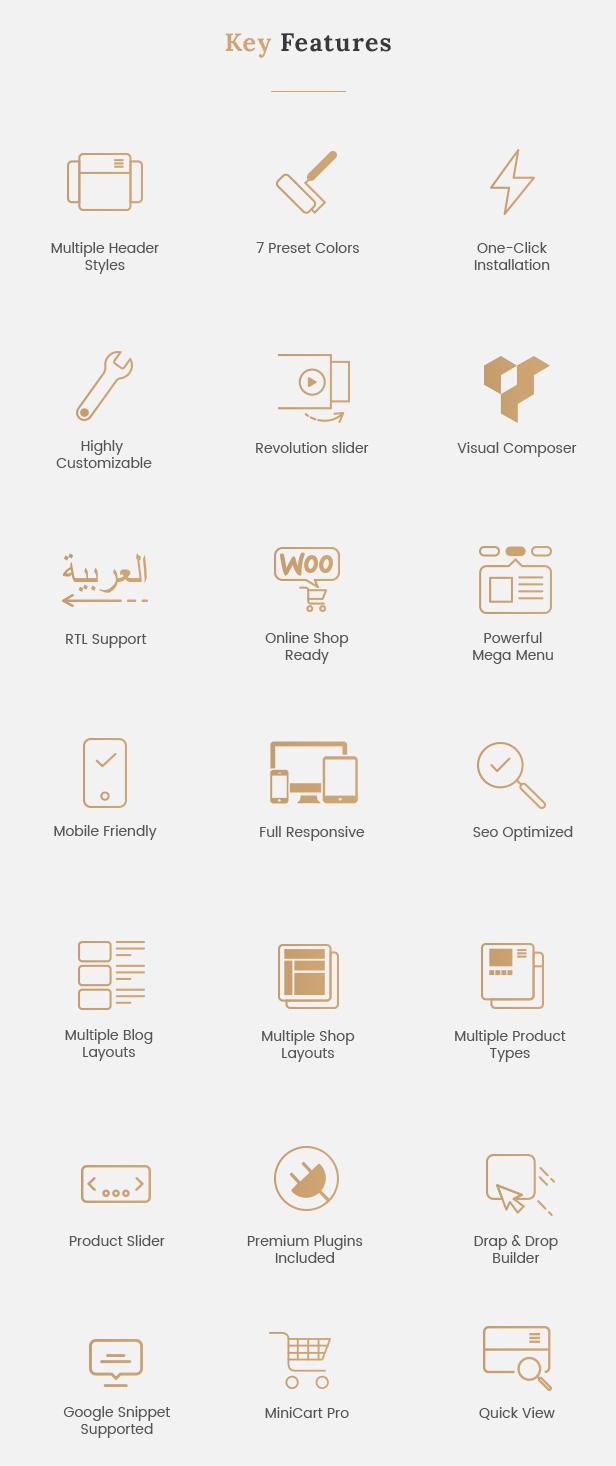 Funktionen - Reaktionsschnelles WordPress-Theme für WooCommerce
