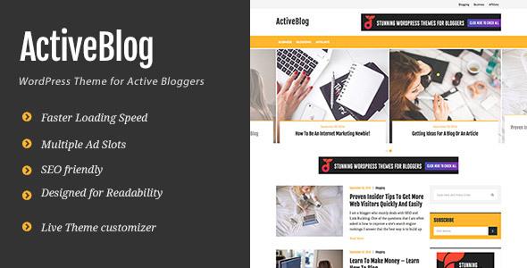 Wordpress Blog Template ActiveBlog - Stylish Personal WordPress Theme For Active Bloggers