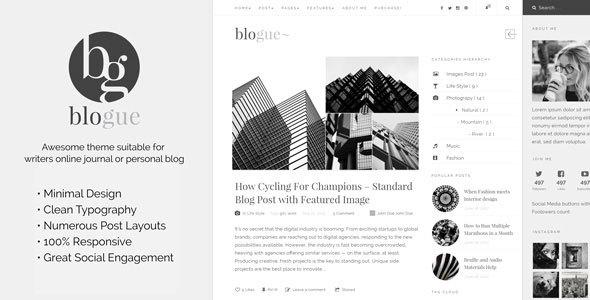 Wordpress Blog Template Blogue - Personal Blog WordPress Template