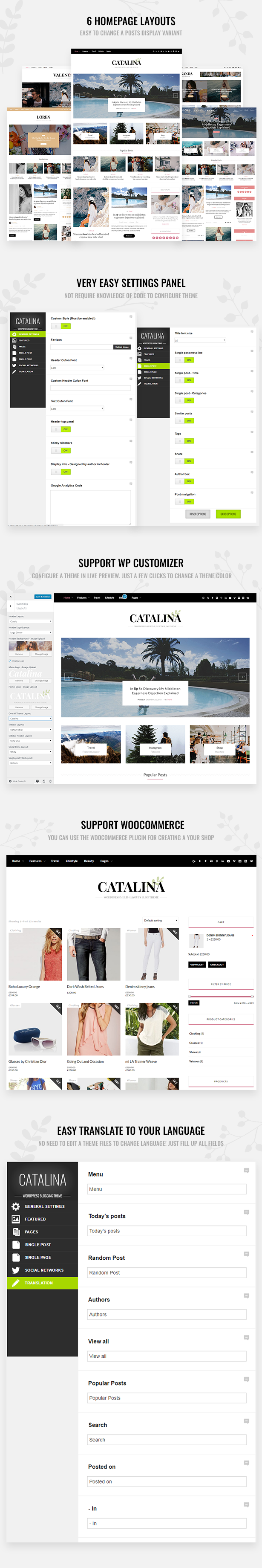 Catalina WordPress Theme-Funktionen