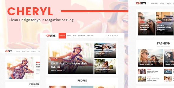 Wordpress Blog Template Cheryl - Responsive Design WordPress Magazine & Blog Theme