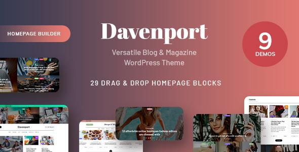 Wordpress Blog Template Davenport - Responsive Versatile Blog and Magazine WordPress Theme