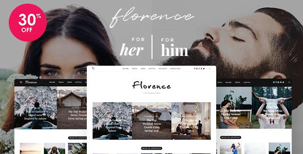 Wordpress Blog Template Florence - Feminine Clean and Fresh WordPress Blogging Theme