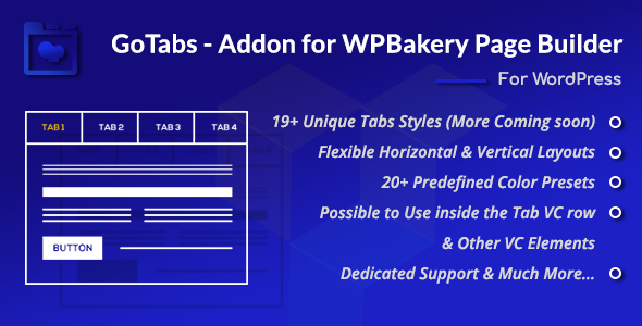 Wordpress Add-On Plugin GoTabs - Addon for WPBakery Page Builder (Formerly Visual Composer)