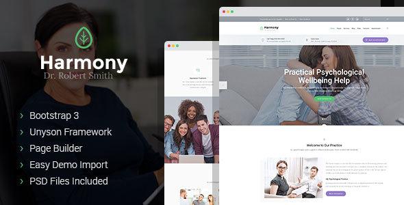 Wordpress Corporate Template Harmony - psychologist and psychotherapist WordPress theme