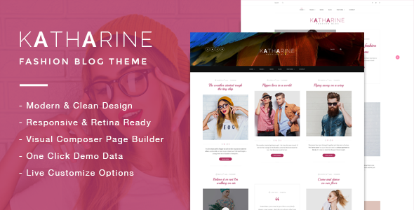 Wordpress Blog Template Katharine - Modern Fashion Blog Theme