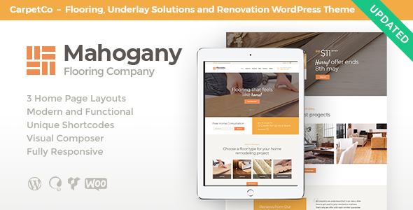 Wordpress Shop Template Mahogany | Flooring Company WordPress Theme