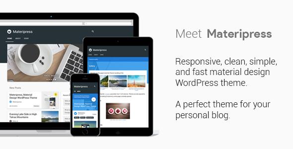 Wordpress Blog Template Materipress - Material Design WordPress Theme