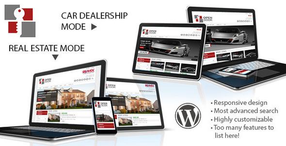 Wordpress Immobilien Template OpenDoor Responsive Real Estate and Car Dealership