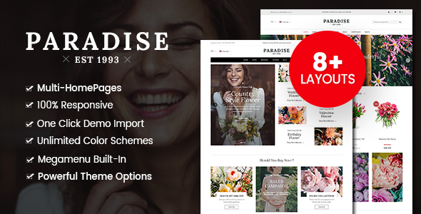 Wordpress Shop Template Paradise - Flower Shop WordPress WooCommerce Theme (8+ Homepages Ready)