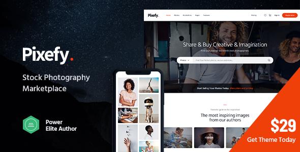 Wordpress Shop Template Pixefy | Stock Photography Marketplace Theme