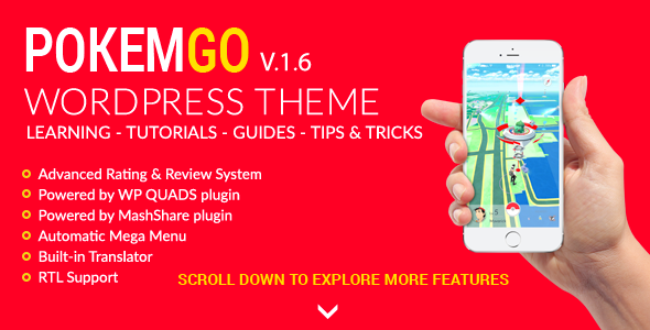 Wordpress Blog Template Pokemgo - WordPress Theme for tutorials, learning, guides, tips & tricks
