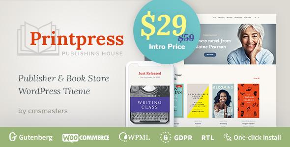 Wordpress Shop Template Printpress -  Book Publishing WordPress Theme