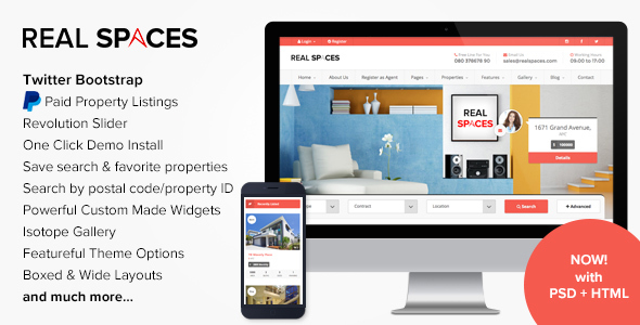 Wordpress Immobilien Template Real Spaces - WordPress Real Estate Theme