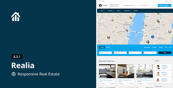Wordpress Immobilien Template Realia - Responsive Real Estate WordPress Theme
