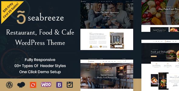 Wordpress Entertainment Template Seabreeze - Restaurant and Cafe WordPress Theme