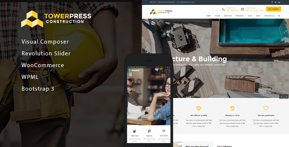 Wordpress Corporate Template TowerPress - Building Construction WordPress Theme