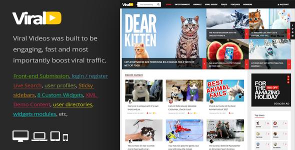 Wordpress Blog Template ViralVideo - Responsive Magazine WordPress Theme