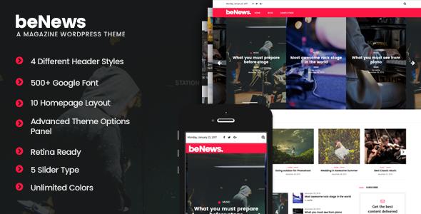 Wordpress Blog Template beNews - Magazine WordPress Theme