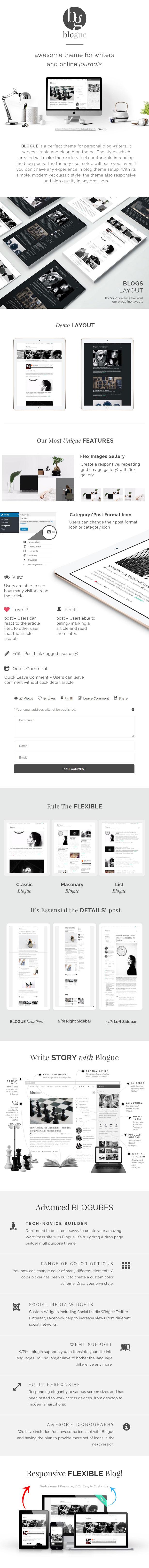 BLOGUE ist ein perfektes Thema für persönliche Blog-Autoren. Es dient einfach und sauber Blog-Thema. Durch die erstellten Stile fühlen sich die Leser beim Lesen der Blog-Beiträge wohl. Die benutzerfreundliche Einrichtung erleichtert Ihnen die Arbeit, auch wenn Sie noch keine Erfahrung mit der Einrichtung von Blog-Themen haben. Mit seinem einfachen, modernen und dennoch klassischen Stil reagiert das Thema auch in allen Browsern schnell und in hoher Qualität