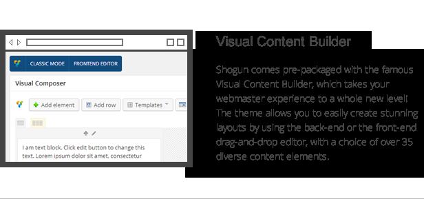 Shogun-Funktionen - Visual Content Builder