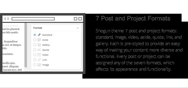 Shogun-Funktionen - Post- und Projektformate