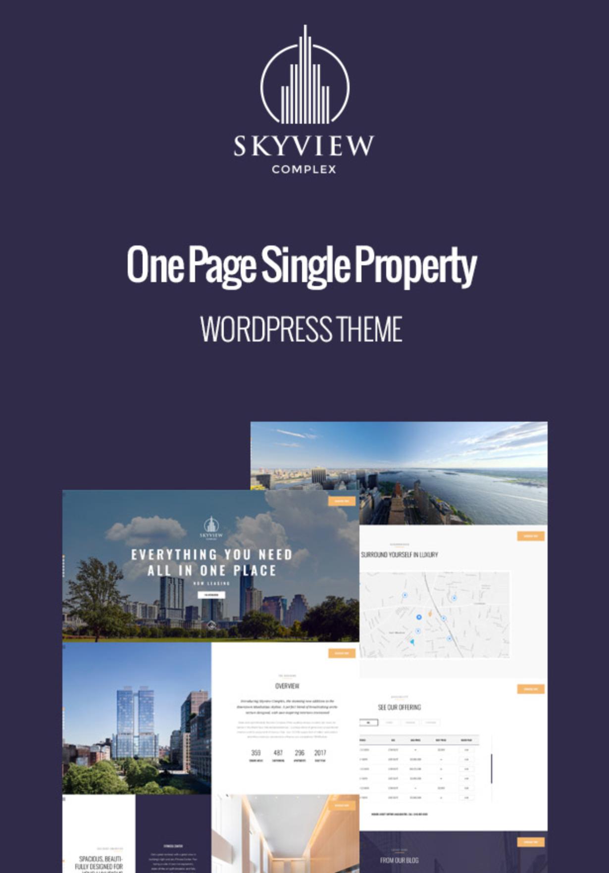 Skyview Complex Best One Page Einzelimmobilien & Immobilien WordPress-Themes