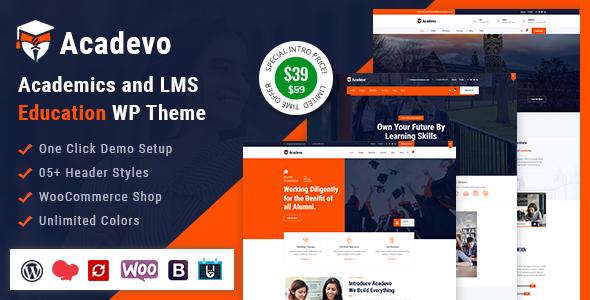 Wordpress BILDUNG Template Acadevo - Academics and Education WP Theme