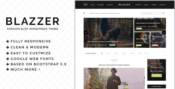 Wordpress Blog Template Blazzer - Personal/Fashion Blog WordPress Theme
