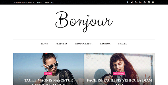 Wordpress Blog Template Bonjour - A Perfect WordPress Magazine and Blog Theme