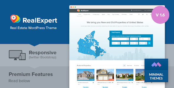 Wordpress Immobilien Template Real Expert - Responsive Real Estate and Property Listing WP Theme