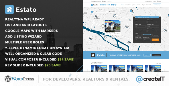 Wordpress Immobilien Template Estato - WordPress Theme for Real Estate and Developers
