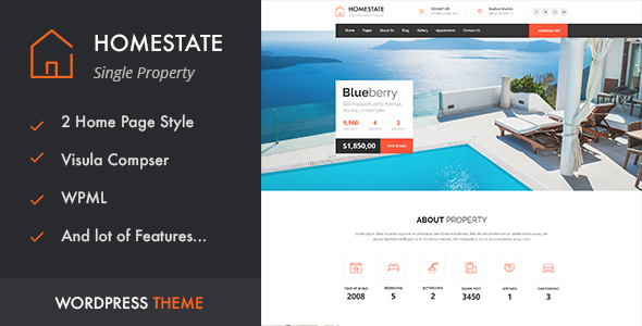 Wordpress Immobilien Template HOME STATE - Single Property Real Estate WordPress Theme