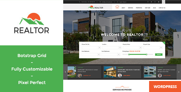 Wordpress Immobilien Template Realtor - Responsive Real Estate WordPress Theme