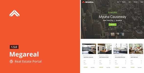 Wordpress Immobilien Template Megareal - Real Estate Portal WordPress Theme
