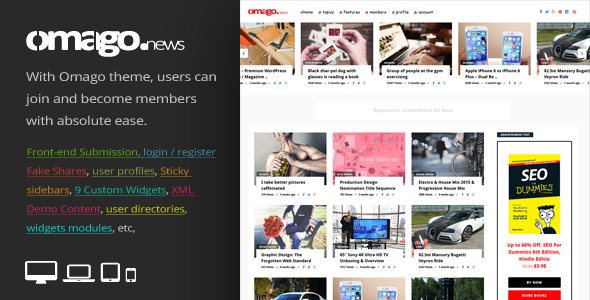 Wordpress Blog Template Omago News - User Profile Membership & Content Sharing Theme