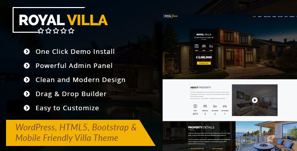 Wordpress Immobilien Template RoyalVilla - WordPress Theme for Single Property