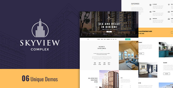 Wordpress Immobilien Template Skyview Complex - One Page Single Property WordPress Theme