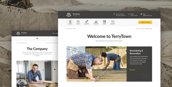 Wordpress Corporate Template Terrytown - Construction & Renovation WordPress Theme