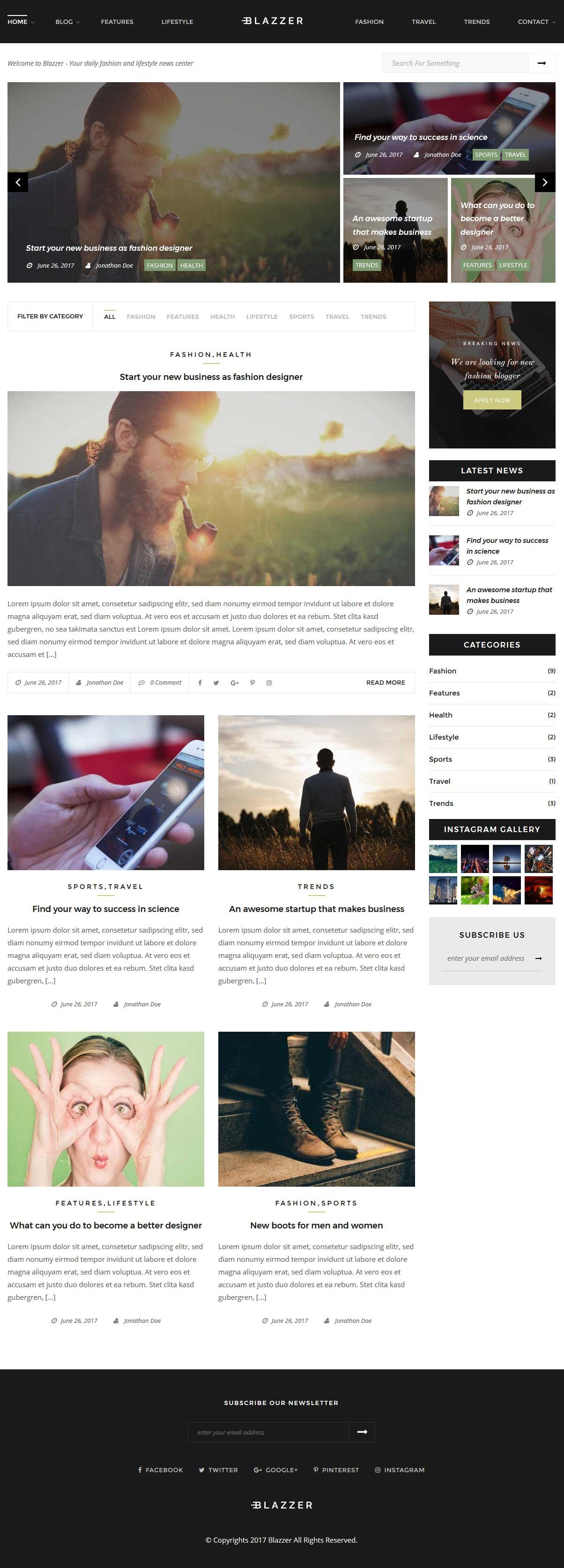 Blazzer - Persönliches / Mode Blog WordPress Theme