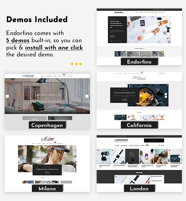 Endorfino WordPress Theme - Demo-Inhalt