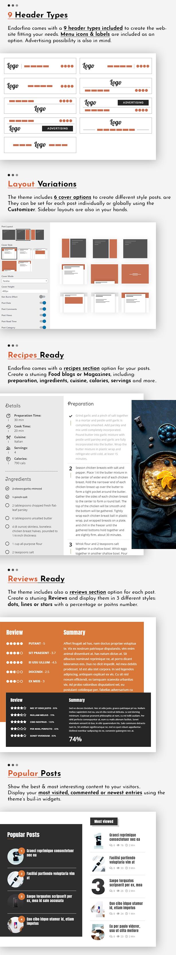 Endorfino WordPress Theme - Anpassungen