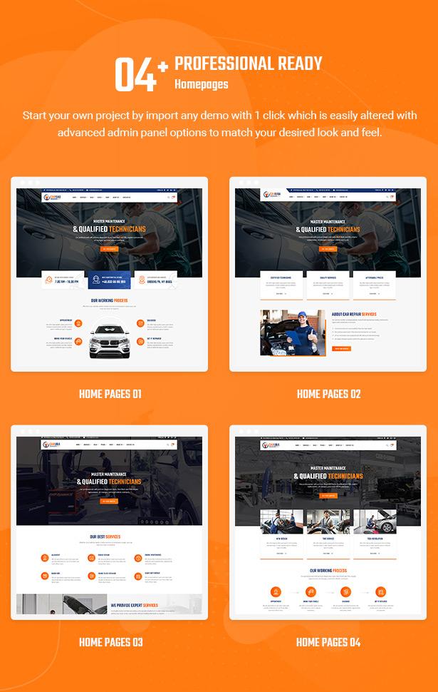 04+ Professionelle Homepage Layouts - Carsao - Auto Service & Auto Mechaniker WordPress Theme