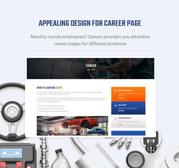 Zeige offene Stellen & heiße Karriere - Carsao - Auto Service & Auto Mechanic WordPress Theme