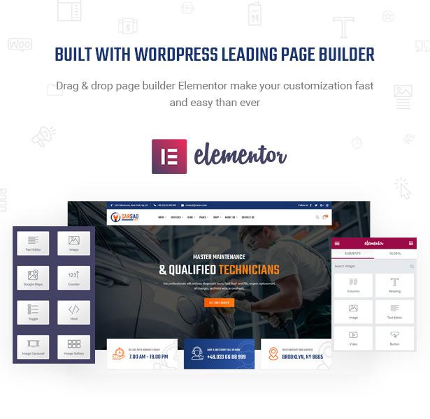 Seien Sie mächtig mit Elementor - Page Builder - Carsao - Auto Service & Auto Mechanic WordPress Theme