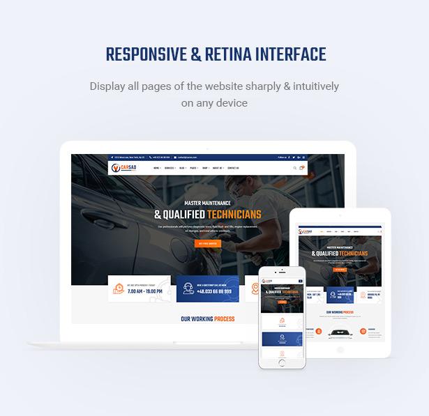 Retina Ready & Mobile Optimization - Carsao - Auto-Service und Auto-Mechaniker WordPress Theme
