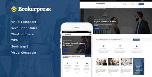 Wordpress Corporate Template BrokerPress - Business Financial & Corporate WordPress Theme