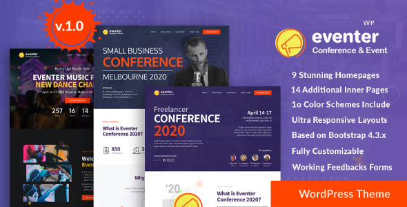 Wordpress Entertainment Template Eventer - Meetup & Conference WordPress Theme