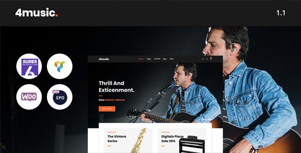 Wordpress Shop Template Fourmusic - Musical instruments Shop WooCommerce Theme